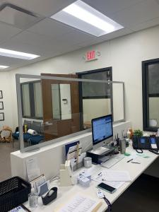 Office Safety Partition for a Desk with Clear Acrylic Insert