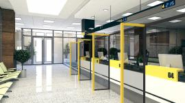 Bank Lobby with Teller Safety Dividers
